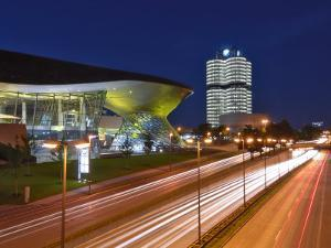 Bmw Welt and Headquarters Illuminated at Night, Munich, Bavaria, Germany, Europe by Gary Cook
