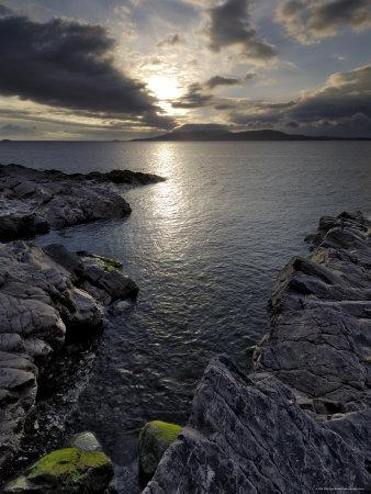Clew Bay at Dusk Looking Towards Clare Island, County Mayo, Connacht, Republic of Ireland