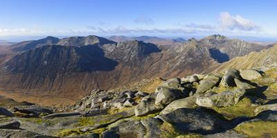 Panoramic view of the Northern Mountains from the top of Goatfell, Isle of Arran, North Ayrshire, S