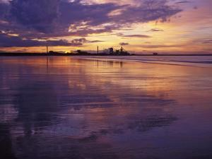 Redcar Beach at Sunset with Steelworks in the Background, Redcar, Cleveland, England by Gary Cook
