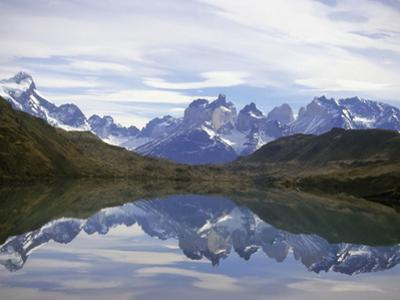 Reflections of the Cuernos Del Paine in a Lake, Torres Del Paine National Park, Patagonia, Chile