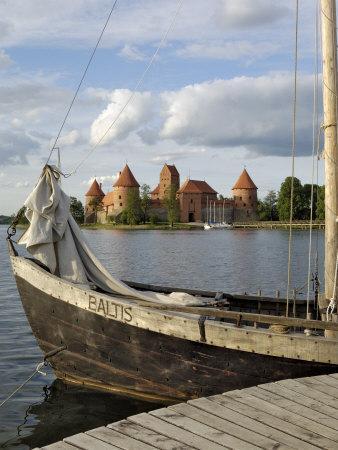 Traditional Boat and Trakai Castle, Trakai, Near Vilnius, Lithuania, Baltic States