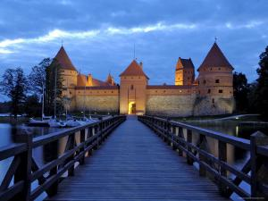 Trakai Castle Illuminated at Night, Trakai, Near Vilnius, Lithuania, Baltic States, Europe by Gary Cook