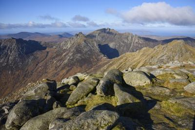 View of the Northern Mountains from the top of Goatfell, Isle of Arran, North Ayrshire, Scotland, U