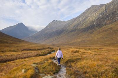 Woman walking in Glen Sannox, Isle of Arran, North Ayrshire, Scotland, United Kingdom, Europe by Gary Cook