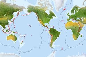 Volcano Distribution Map by Gary Hincks