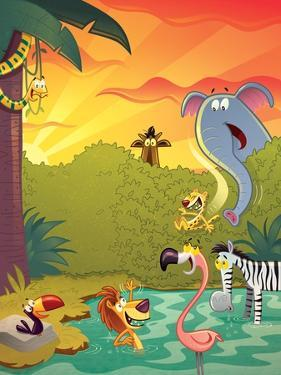 Sundown at the Water Hole - Jack & Jill by Gary LaCoste