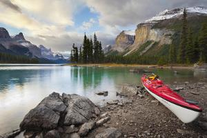 Canada, Alberta. Sea Kayak at Spirit Island, Maligne Lake, Jasper by Gary Luhm