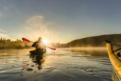 Canada, British Columbia. A kayaker paddles in morning mist on a Canadian lake. by Gary Luhm