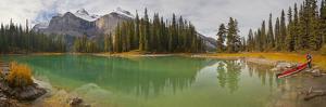 Kayaker on Maligne Lake, Jasper National Park, Alberta, Canada by Gary Luhm