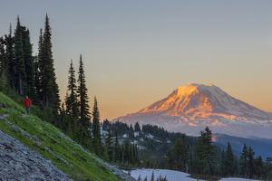 Man on Trail, Mt Adams Back, Goat Rocks Wilderness, Washington, USA by Gary Luhm