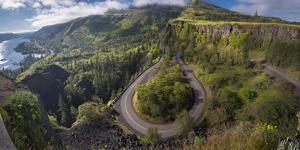 Oregon. Twisting, curving Historic Columbia River Highway (Hwy 30) below the Rowena Plateau by Gary Luhm