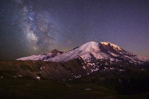 USA, Washington. Milky Way and Mt. Rainier, Mt. Rainier by Gary Luhm