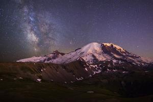 USA, Washington. Milky Way and Mt. Rainier, Mt. Rainier by Gary Luhm