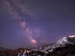 WA. Night shot of Milky Way and stars over Mt. Rainier by Gary Luhm