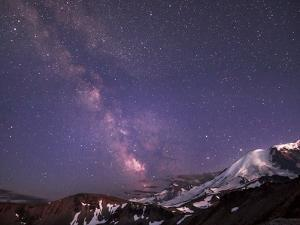 WA. Night shot of Milky Way and stars over Mt. Rainier by Gary Luhm