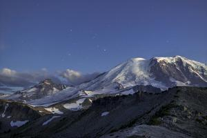 WA. Twilight shot of stars over Mt. Rainier, Little Tahoma and Burroughs Mountain by Gary Luhm