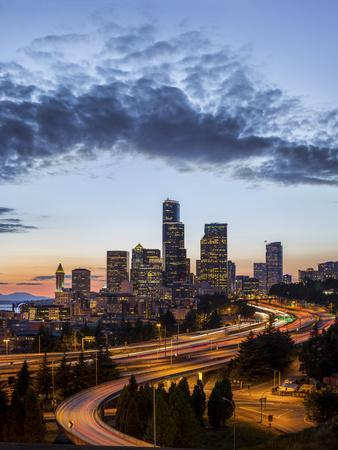 Washington, Seattle. Sunset View of Downtown over I-5 from the Jose Rizal Bridge
