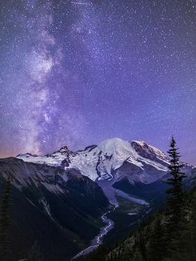 Washington, White River Valley Looking Toward Mt. Rainier on a Starlit Night with the Milky Way by Gary Luhm