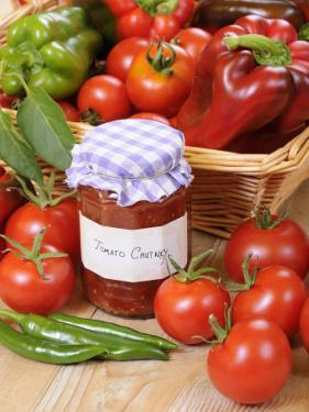 Country Kitchen Scene with Home Made Chutney and Ingredients - Tomatoes and Peppers, UK by Gary Smith