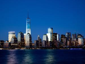 The New Freedom Tower and Lower Manhattan Skyline at Night by Gary718