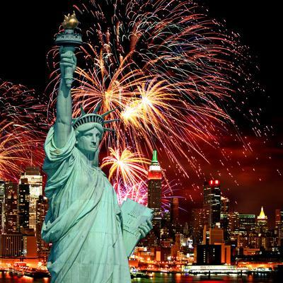 The Statue of Liberty and Holiday Fireworks