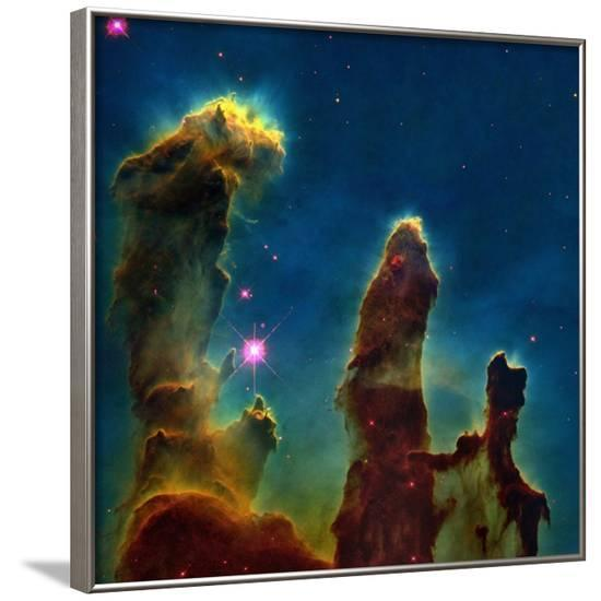 Gas Pillars In the Eagle Nebula--Framed Photographic Print