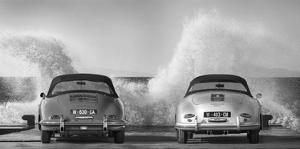 Ocean Waves Breaking on Vintage Beauties (BW) by Gasoline Images