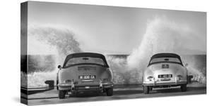 Ocean Waves Breaking on Vintage Beauties (BW) by Gasoline Images