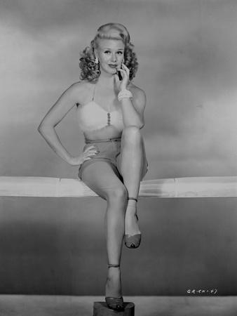 Ginger Rogers Posed in Lingerie Black and White Side View Angle