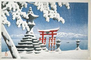 Gate of a Snowcapped Shrine, Itsukushima Shrine, Hiroshima, Honshu Island, Japan