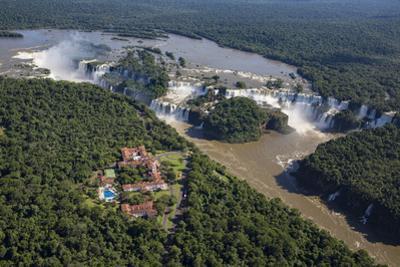 Aerial view over Iguacu Falls, Iguacu (Iguazu) National Park, Brazil by Gavin Hellier