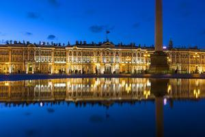 Alexander Column and the Hermitage, Winter Palace, Palace Square, St. Petersburg, Russia by Gavin Hellier