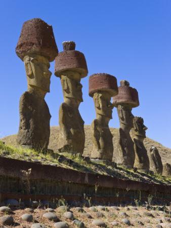 Anakena Beach, Monolithic Giant Stone Moai Statues of Ahu Nau Nau, Rapa Nui, Chile by Gavin Hellier