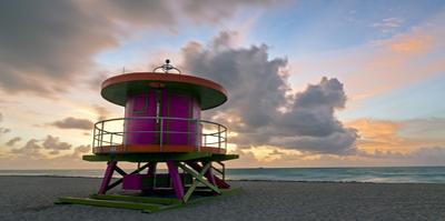 Art Deco Style Lifeguard Hut on South Beach, Ocean Drive, Miami Beach, Miami, Florida, USA by Gavin Hellier