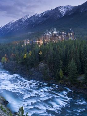 Banff Springs Hotel from Surprise Point and Bow River, Banff National Park, Alberta, Canada by Gavin Hellier