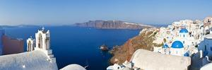 Blue Domed Churches in the Village of Oia, Santorini (Thira), Cyclades Islands, Aegean Sea, Greece by Gavin Hellier
