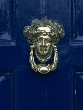 Blue Painted Door and Knocker in the Centre of the City of Dublin, Eire, Europe by Gavin Hellier