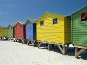 Brightly Painted Beach Bathing Huts at False Bay, Muizenburg, Cape Town, South Africa by Gavin Hellier
