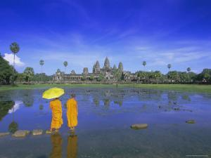 Buddhist Monks Standing in Front of Angkor Wat, Siem Reap, Cambodia by Gavin Hellier