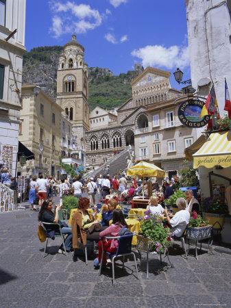 Cafes and Cathedral, Amalfi, Amalfi Coast, Campania, Italy, Europe