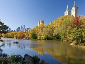 Central Park and Buildings Viewed Across Lake in Autumn, Manhattan, New York City by Gavin Hellier