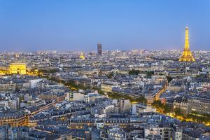 City, Arc De Triomphe and the Eiffel Tower, Viewed over Rooftops, Paris, France, Europe by Gavin Hellier