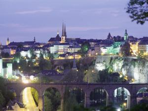 City Skyline at Dusk, Luxembourg City, Luxembourg, Europe by Gavin Hellier