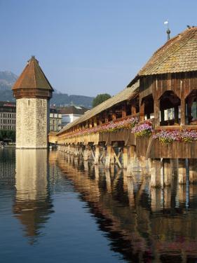 (Covered Wooden Bridge) Over the River Reuss, Kapellbrucke, Lucerne (Luzern), Switzerland by Gavin Hellier