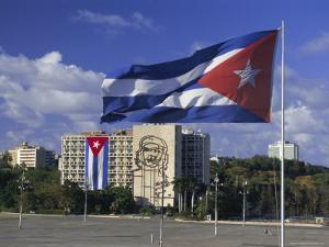 Cuban Flag Flying Outside the Ministerio Del Interior, Cuba, West Indies by Gavin Hellier