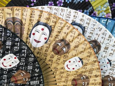 Decorative Paper Fans For Sale in Insa-dong, Seoul, South Korea by Gavin Hellier