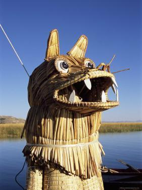 Detail of Decoration on Traditional Reed Boat, Lake Titicaca, Peru by Gavin Hellier