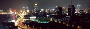 Elevated Night View of the Bund (Zhongshan Dong Yilu), River and New City Skyline, Shanghai, China by Gavin Hellier