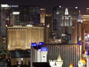 Elevated View of Casinos on the Strip at Night, Las Vegas, Nevada, USA, North America by Gavin Hellier